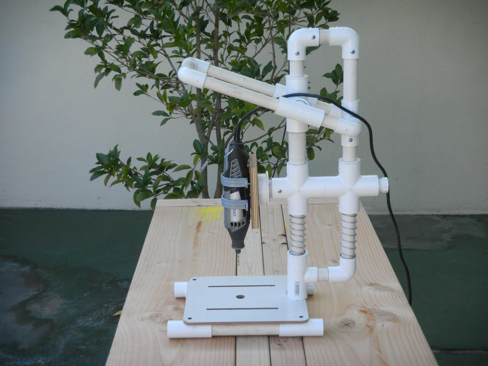 "Pictures of a ""build it yourself"" PVC Drill Press"